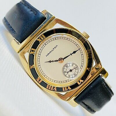 Hamilton Piping Rock 29mm Men's Gold Watch Black Leather Registered Edition 5954