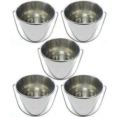 12 Litre Large Heavy Duty Stainless Steel BBQ 12L Pail Bucket  + Handle x 5