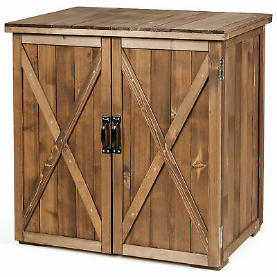 2.5 X 2 Ft Outdoor Wooden Storage Shed Cabinet W/ Double Doors for Garden Yard