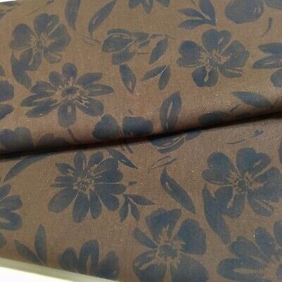 Daisies Floral Fabric Brown Tone-on-Tone 100% Cotton Quilting Sewing Craft