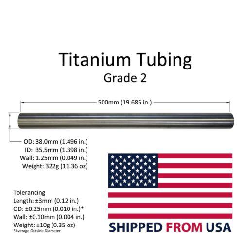 Titanium Tube Tubing 38mm (1.50 inch) OD x 35.5mm ID x Wall 1.25mm x 500mm Long