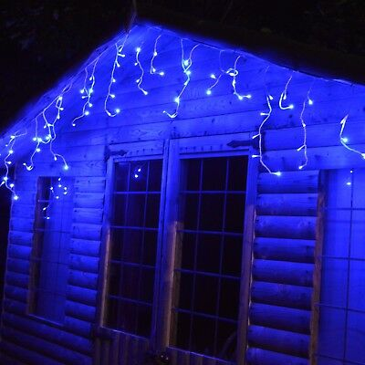 175 LED (7.5m) Lumineo Outdoor Twinkle Icicle Lights 8 Function - Blue Light 740