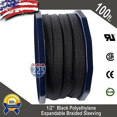 "100 FT 1/2"" Black Expandable Wire Cable Sleeving Sheathing Braided Loom Tubing"