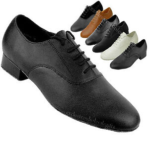 Men's Ballroom Salsa Latin Tango Black Coffee White Dance Shoes Very Fine 919101