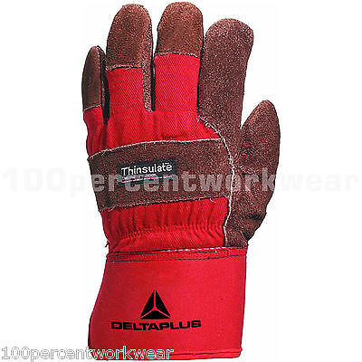 6 Delta Plus DCTHI Docker Safety Leather Canvas Work Gloves 3M Thinsulate Warm
