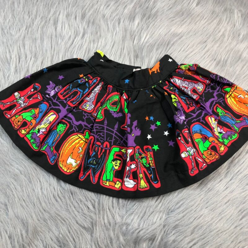 Vintage Handmade Toddler Girls Black Halloween Star Tulle Costume Skirt