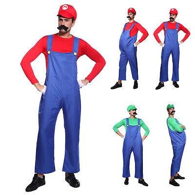 Super Mario Bros. Mario Luigi Klempner Herren Kostüm karnevalkostüm Gr.M L XL