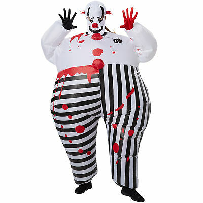 Unisex Kostüm aufblasbar Horror Clown Creepy Fasching Karneval Halloween
