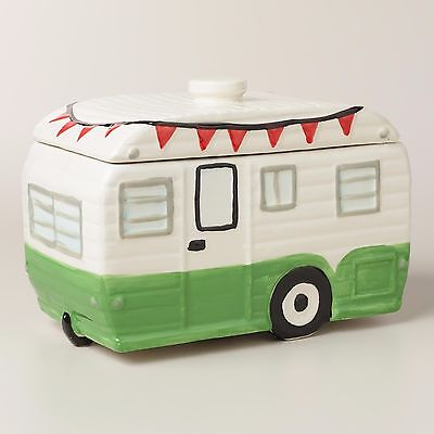 Camper Ceramic Cookie Jar Happy Retro Travel Trailer Vintage Design White Green