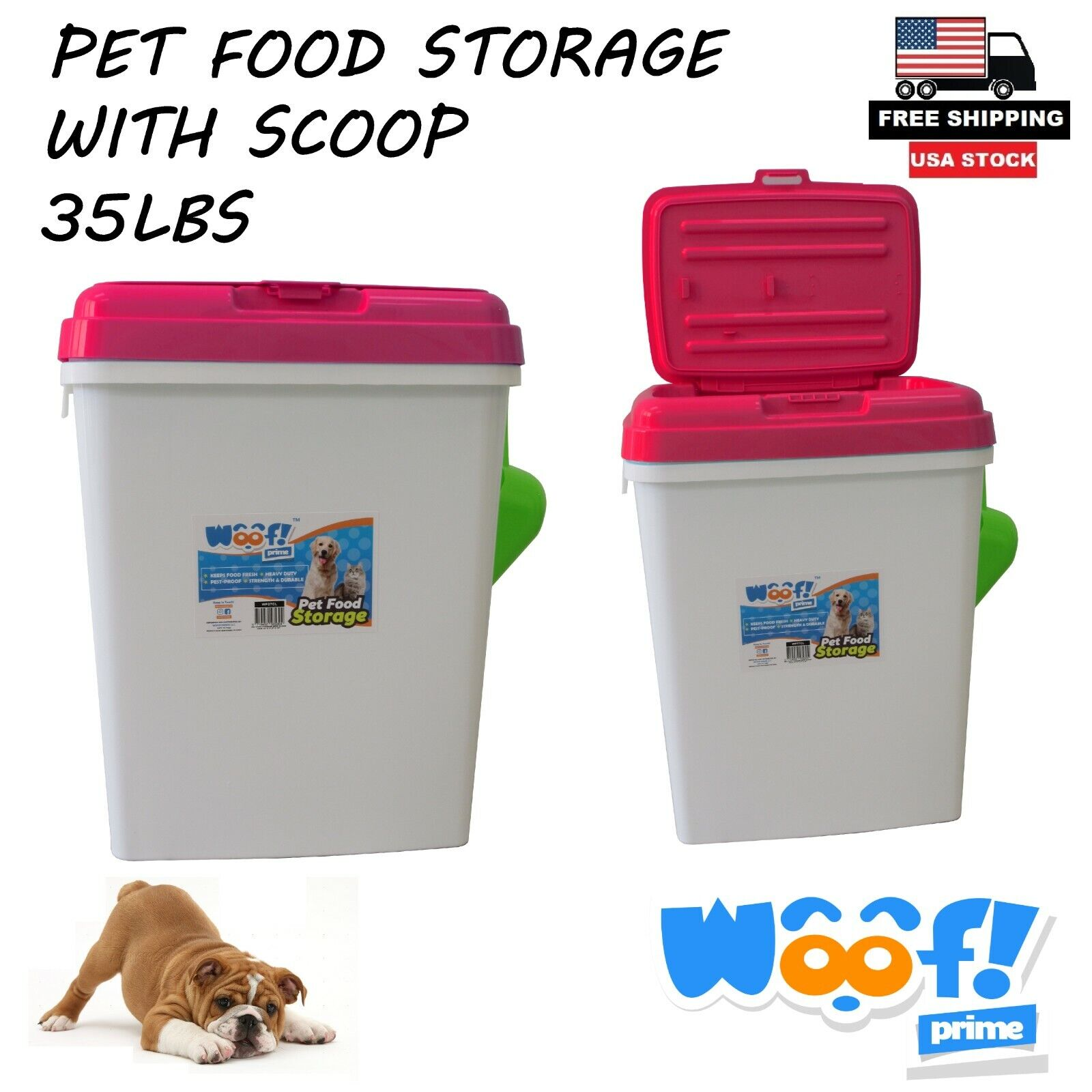 Pet Food Storage Container With Scoop 35lb Diamond Surface Pink Woof! Prime