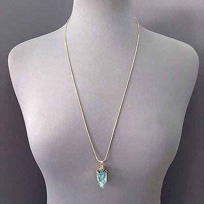 Gold Finished Snakeskin Chain Blue Druzy Stone Arrowhead Shape Pendant Necklace