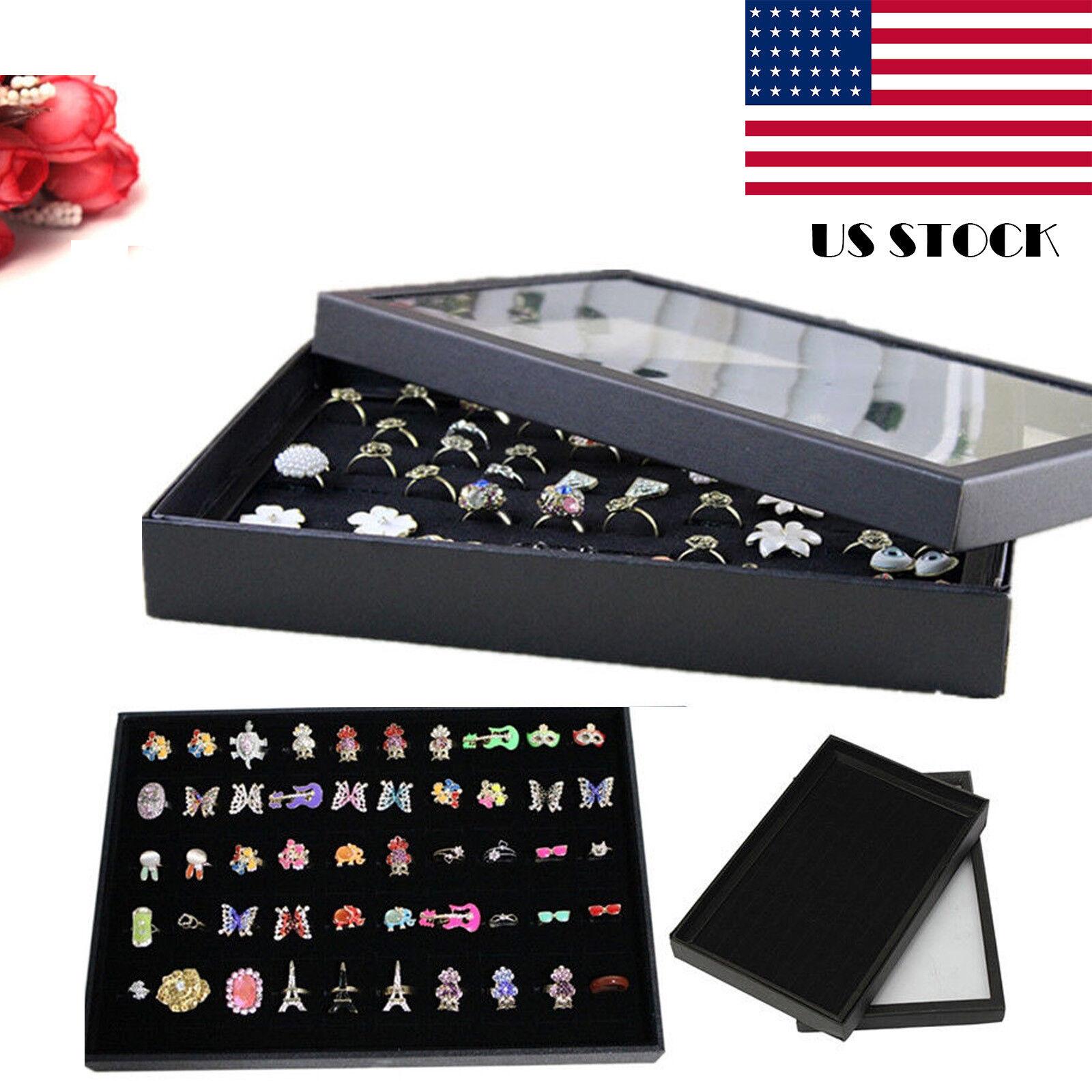 Jewelry - 100 Ring Jewellery Display Storage Box Tray Show Case Organiser Earring Holder