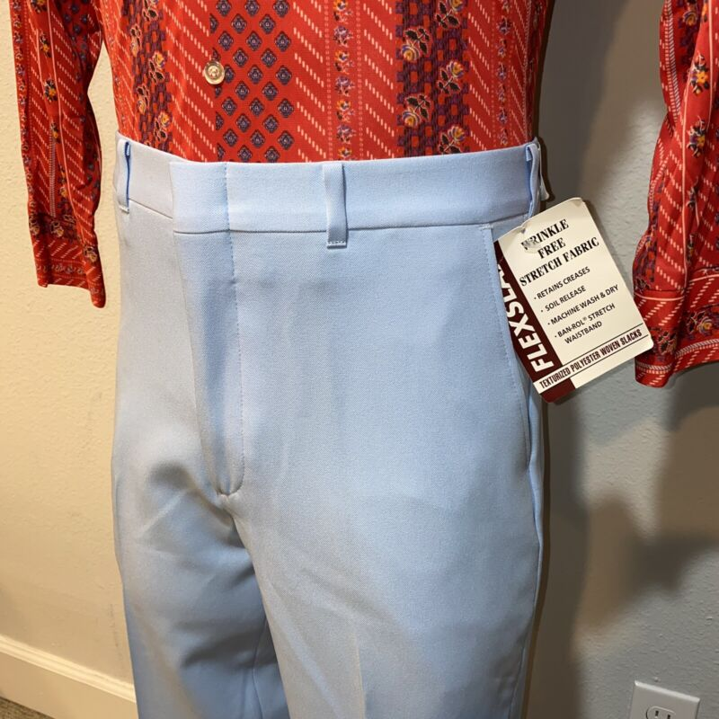NOS Vtg 70s FLEXSLAK Dress Pants POLYESTER Perma Prest Suit Blue NEW Mens 34 30