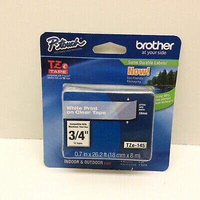 Brother Genuine Tze-145 Tape 34 0.7 Standard Laminated P-touch Tape White