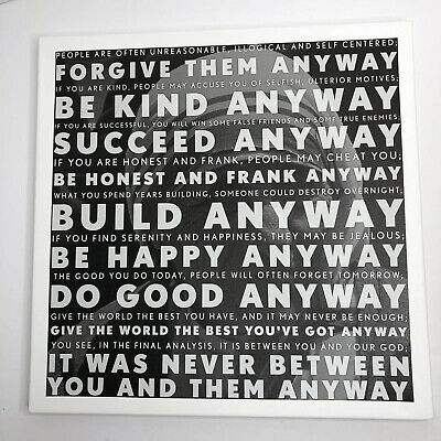 Motivational Artwork Mother Teresa Anyway Quote Inspire Empowerment Canvas (I)