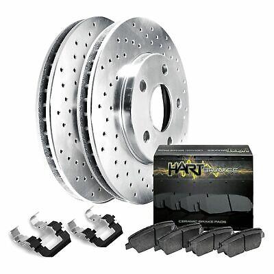 Fit 2007-2011 Audi S6 Rear HartBrakes Drilled Brake Rotors + Ceramic Brake Pads