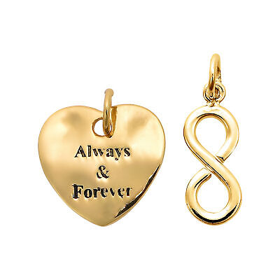 'Always & Forever' Infinite Love Duo Gold Over Sterling Silver Charm Pendants