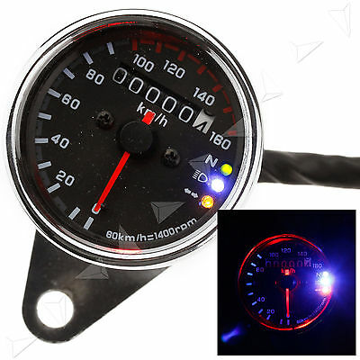 Universal 12V Motorbike Dual Odometer Speedometer Gauge LED Background Light
