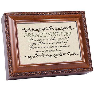 Granddaughter Woodgrain Music Box / Jewelry Box Plays Light Up My Life