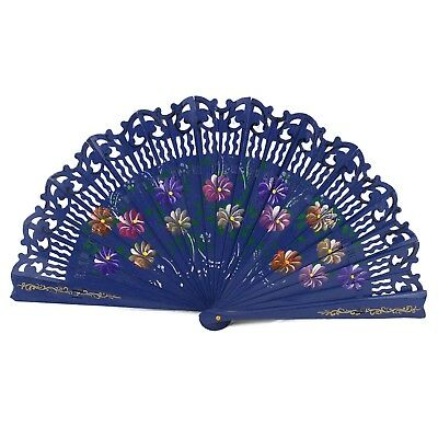 Double Sided Wooden Spanish Floral Print Design Hand Fan Party Decoration Gift
