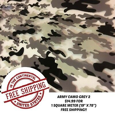 Hydrographic Water Transfer Hydro Dipping Army Camo Grey 2 Film 1sq 19x78