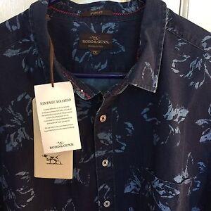 2XL Todd & Gunn NWT  Men's Cotton Shirt Navy Hibiscus Singleton Singleton Area Preview