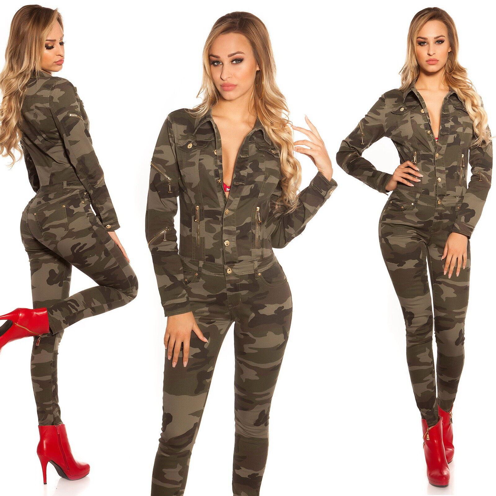 XS//S//M//L//XL Women/'s Camouflage Long Sleeve Denim Jeans Jumpsuit