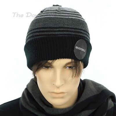 Reversible Waffle Knit Beanie (APT. 9 Men's REVERSIBLE GRAY & BLACK STRIPE BEANIE HAT or SOLID WAFFLE Knit)