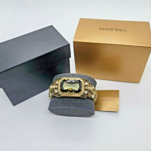Stunning Heidi Daus Hinged Bejeweled Cuff Bracelet Mint In Box Signed