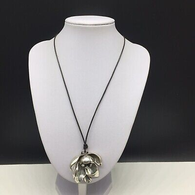 FOSSIL Brown Leather Cord Necklace Silver Tone Flower Pendant Clear covid 19 (Fossil Leather Necklace coronavirus)