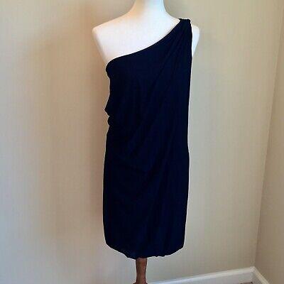 Vivienne Tam Black Nylon One Shoulder Grecian Drape Dress S Toga ](Toga Dresses)
