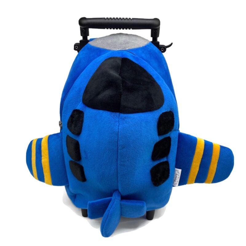 NWT Popatu Kids Airplane Rolling Backpack on Wheels Suitcase Blue Little Boys