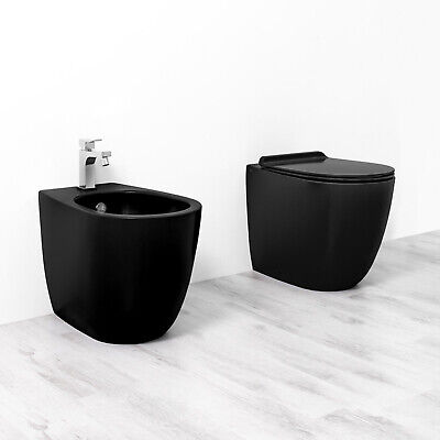 Sanitari coppia colore nero Vignoni di SIMAS filomuro bidet + wc + sedile 56 cm