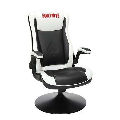 Rocking Gaming Chair Fortnite PU Leather Racing Style Black White Kids Seat Game