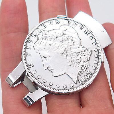 Antique REAL 900 Silver Morgan Dollar Coin Money Clip Random Years w/ Gift Box Dollar Coin Money Clip