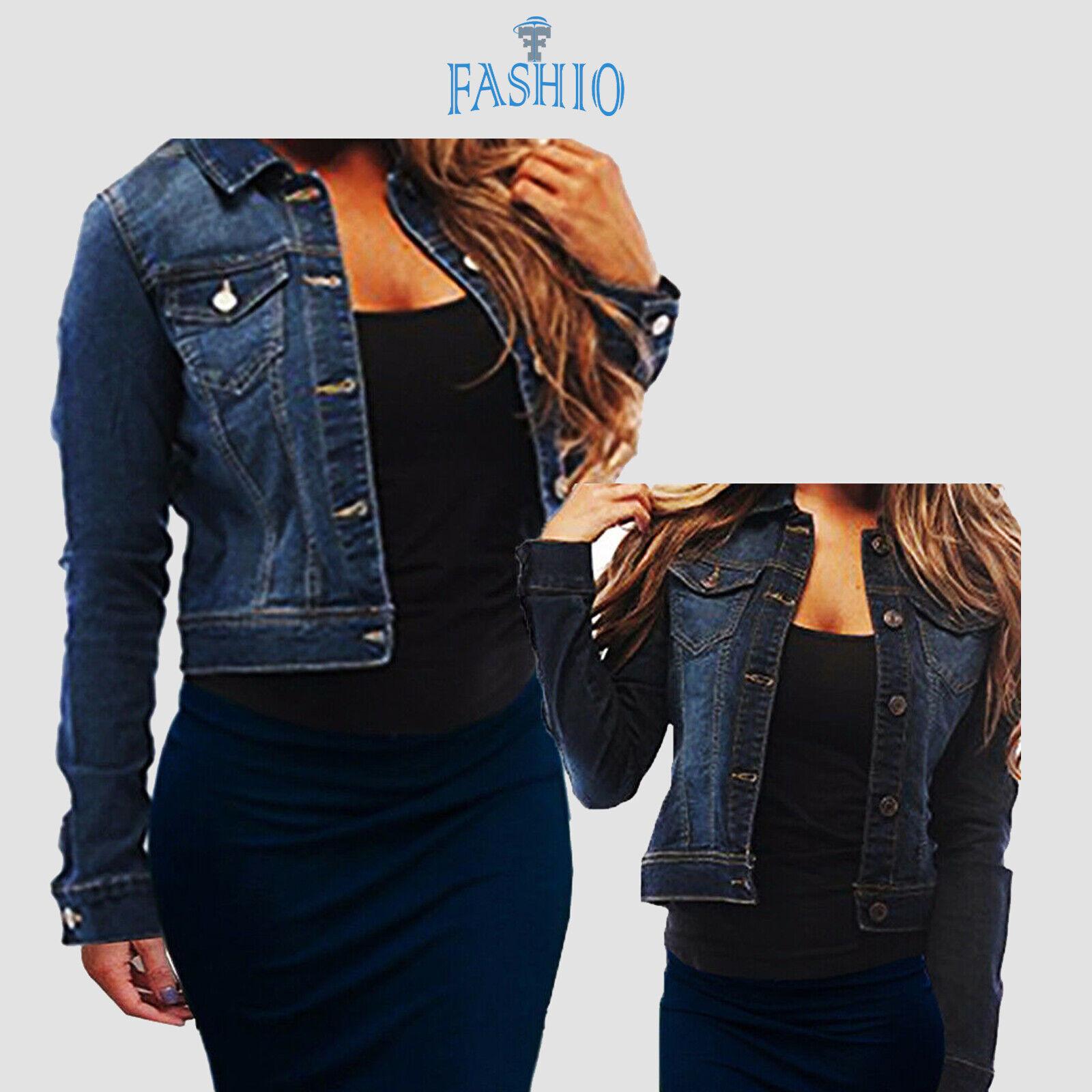 Women's Full Long Sleeve Denim Jacket Basic Cropped Button C