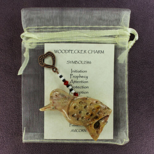 WOODPECKER TOTEM SOAPSTONE CHARM Amulet Talisman Bird Magick Symbol Attraction