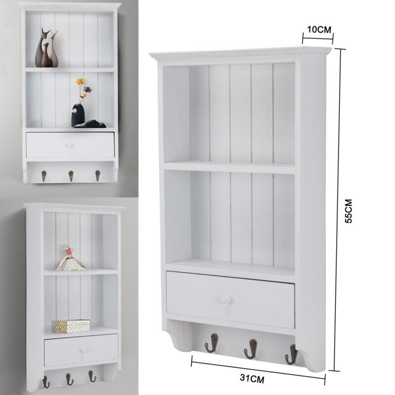 Wall Mount Shelf 3 Drawers 2 Hook Storage Rack White Finish Wood Livingroom