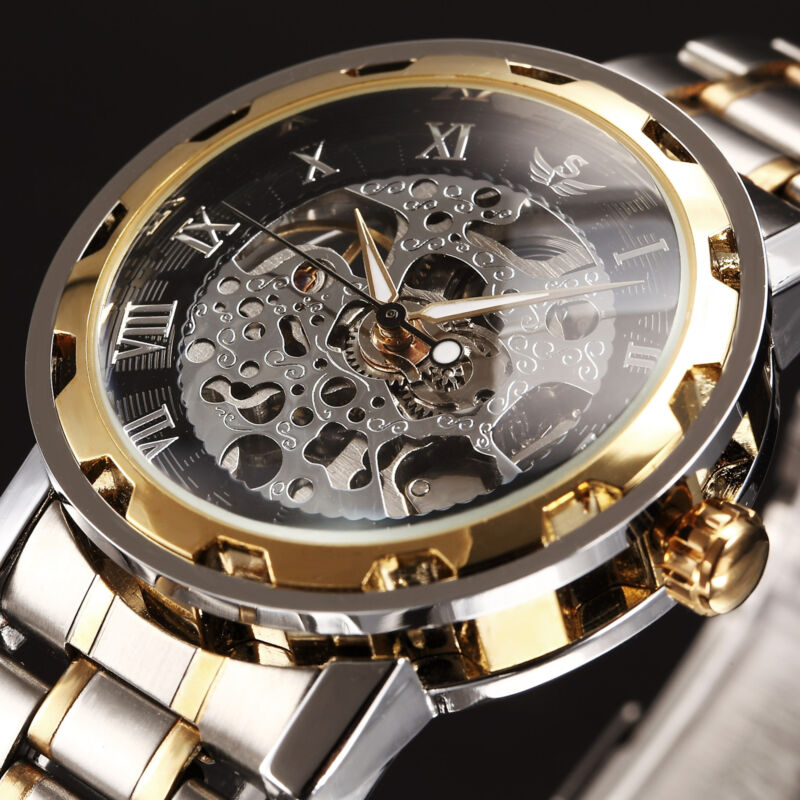 Classic Men's Skeleton Dial Mechanical Stainless Steel Band Wrist Watch