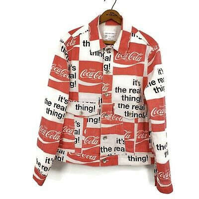 New Urban Outfitters Coca Cola Trucker Jacket Mens XS Cotton Denim Red White