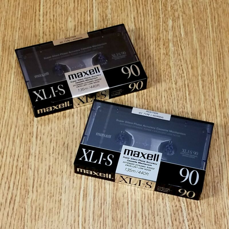 MAXELL XLI-S 90 Cassette Tapes (lot of 2) Made in Japan VINTAGE & HTF  *NEW NOS*
