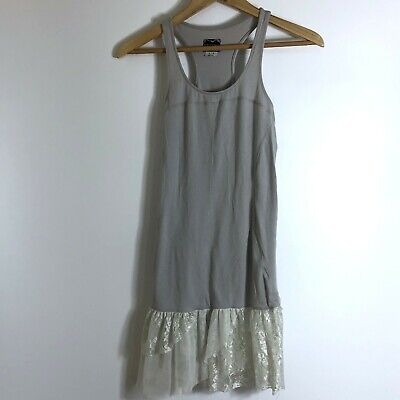 Intimately Free people gray lace tulle trim razor back tunic sz small
