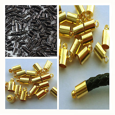 (Multi -color Plated Brass Barrel Cord Kumihimo Glue  End Caps Beads)
