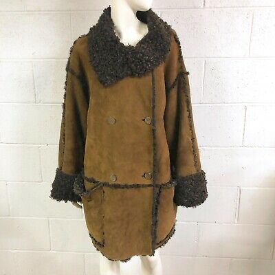 Womens Vintage SYLVIE SCHIMMEL Heavy Brown Shearling Coat~made in France~Size 40
