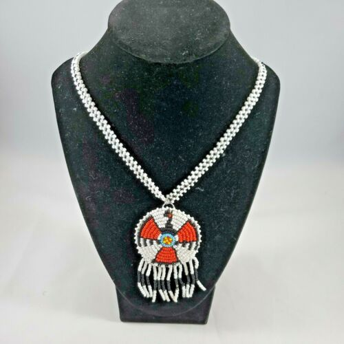 Native American Style Seed Beaded White Black Necklace Round Medallion Leather