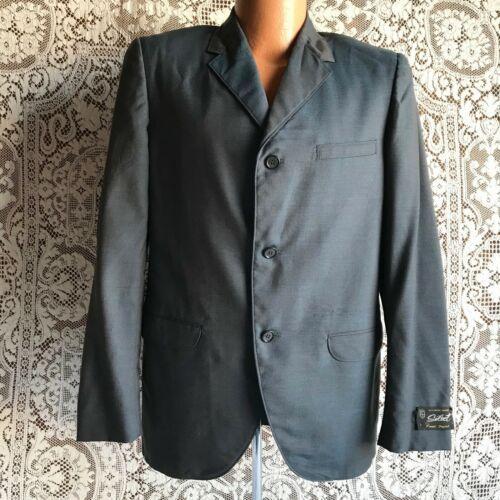 Vintage 1950s 1960s Blue Wool Sharkskin 3 Button Suit Jacket 38