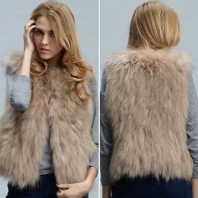 Women's Faux Fur Jacket Coat Body Warmer Outwear Sleeveless
