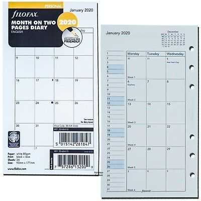 2020 Filofax Personal Size Refill 20-68410 Month On Two Pages 95mm X 171mm