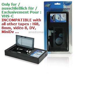 vhs c vhsc vhs adaptateur cassette k7 video camescope magnetoscope adapter ebay. Black Bedroom Furniture Sets. Home Design Ideas