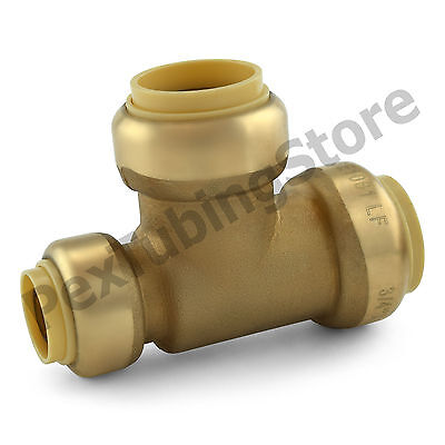 25 34 X 12 X 34 Sharkbite Style Push-fit Push To Connect Lf Brass Tees